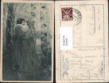 362093,Künstler Ak A. Ribano Freudiges Wiedersehen Liebe Paar Umarmung b. Bäumen