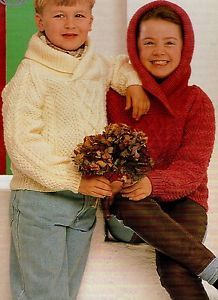 Vintage Knitting Pattern Girls Boys Shawl Collar or Hooded Aran Sweater Tops