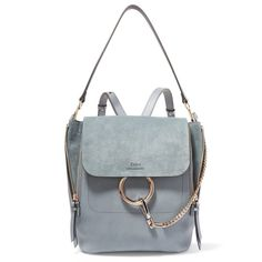 ChloéFaye Medium Leather And Suede Backpack (€2.225) via Polyvore featuring bags, backpacks, blue, chloe bag und chloe backpack