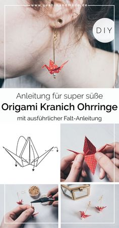 DIY Ohrringe DIY Origami Kranich Ohrringe selber machen Yeah Handmade origami DIY Handmade how origami crane Kranich machen Ohrringe Origami selber Yeah Origami Design, Origami Diy, Origami Love, How To Make Origami, Origami Butterfly, Origami Ball, Origami Folding, Paper Folding, Diy Jewelry Rings