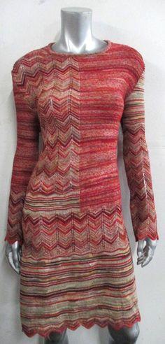 Missoni Dress (Pre-owned Autumn Chevron Multi-Color Sweater Knit Designer Dress, Italy)