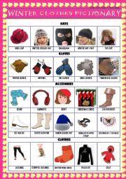 printable esl, kindergarten esl, summer winter, preschool winter, preschool matching, on clothes vocab worksheet