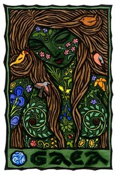 """Gaea """"the Deep-Breasted One"""", is the ancient Greek Goddess of the Earth, considered by Hesiod """"the oldest of divinities"""". She was said to be the child of Ether (Air) and Hemera (Day), though some said She was born directly from Chaos with Eros (Love) and Nyx (Night). She is credited with creating the Universe, and is known as the mother of many many"""