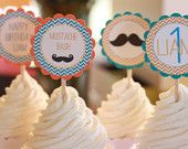12 - Little Man Happy Birthday Mustache Bash Theme Baby Shower Chevron Cupcake or Cake Toppers- Ask About our Party Pack Sale
