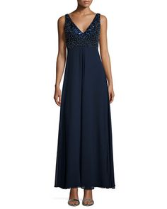 Sleeveless+V-Neck+Beaded+Bodice+Gown,+Twilight+by+Aidan+Mattox+at+Neiman+Marcus.