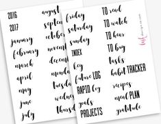 Are you a bullet journal or planner junkie? Need some time saving shortcuts with your headings? This is a collection of 36 popular headings in a fun font pairing. This pretty but minimal motif fits any style. Stickers are kiss cut and sticker sheets fit nicely in a standard A5 (5.8x8.3) journal or planner.   INCLUDED HEADINGS  -----------------------------------------------  Index Key Future Log Rapid Log Goals Projects To Read To Watch To Hear To Buy Tasks Habit Tracker Recipes Months of…