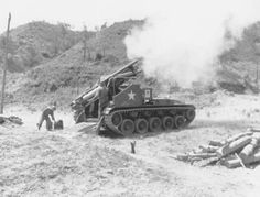 """A self-propelled M41 155mm Howitzer in action. Based on the M24 Chaffee light tank chassis, the gun had a range of 16,000 yards."""