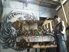 Airbrush painting the last supper
