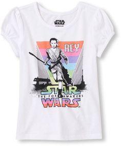Toddler Girl's Short Sleeve Star Wars Force Awakens Rey Graphic Tee