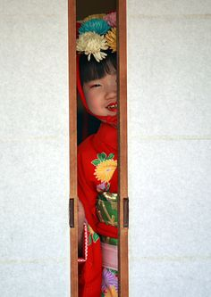 A gilr dressed for matsuri festival in Saitama, Japan.  Just kidding about the waif bit.  But she's too cute not to go there!