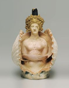 Oil Jar Shaped as Aphrodite in a Shell, Greek - Made in Athens A.D. 400
