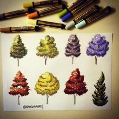 Trees colors! 🌲🌿🌳🍃🍁 #art #arte #arqui #arquinews #arquiteta #arquitetura #arqsketch #arch #archi #ar - natigiovanaz