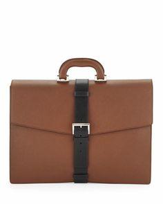Saffiano Buckle-Strap Briefcase, Tan/Black by Prada at Bergdorf Goodman.