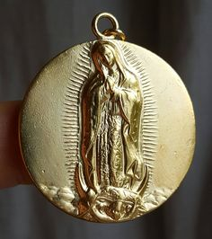 18K Gold Plated Silver Our Lady of Guadalupe Medal Blessed Mother Mary Virgin Mary Mother Mary Catholic Jewelry Religious Gift by SacredBarcelona on Etsy