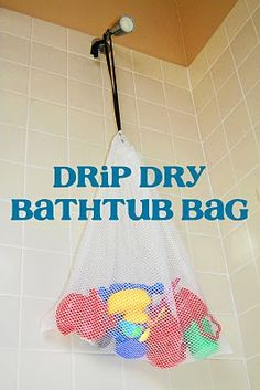 Bathtub toy storage...I'm going to use a repurposed delicates bag with a woven in lace    On the search for a good idea.  Our tub toys are driving me nuts!