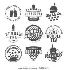 Vector bubble tea logos. Set of pearl tea labels. Popular asian drink badges.