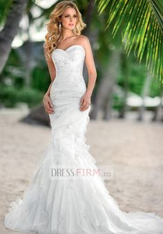 2015 Noble Trumpet/Mermaid Sweetheart Empire Strapless Tulle with Embroidery Sweep Train Wedding Dresses
