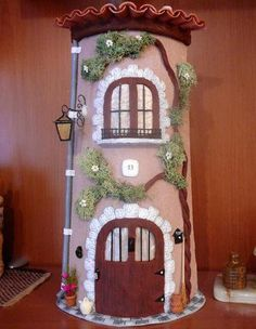 Hobbies For 7 Year Olds Wine Bottle Art, Wine Bottle Crafts, Doll House Crafts, Clay Houses, Fairy Garden Houses, Clay Design, Fairy Doors, Miniature Crafts, Cottage Design