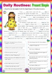 english worksheet daily routines present simple context  english worksheet daily routines present simple context a normal school day for an only child