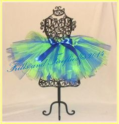 Lime Green and Royal Blue Tutu with Royal Blue Satin Bow in Baby to Adult Sizes