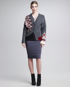 Sunburst Asymmetric-Knit Sweater, Cowl-Neck Shell & Leather-Paneled Pencil Skirt by Jean Paul Gaultier at Neiman Marcus.