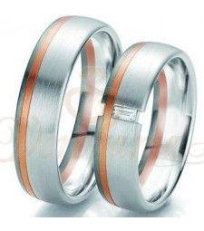 Βέρες γάμου τρίχρωμες με διαμάντι Breuning 6113-6114