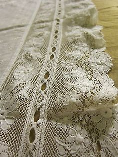 Large Antique French Normandy Lace and White Work on Linen Table Cover Dolie   eBay