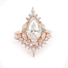 Certified Pear Moissanite Unique Vintage Engagement Ring Set, 14K white gold, Wedding Ring Set, Art Deco Engagement Ring, Eva #ArtDecoRing #UniqueRingSet #PearRingSet #DiamondVRing #WeddingRingsSet #DiamondWeddingSet #DiamondCrownRing #AnniversaryRing #EngagementRing #WeddingRingSet Diamond Crown Ring, Pear Diamond, Pear Shaped Diamond, Deco Engagement Ring, Engagement Ring Settings, Vintage Engagement Rings, Bridal Ring Sets, Bridal Rings, Wedding Rings