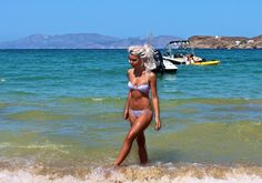 Tanned on a Greek beach.