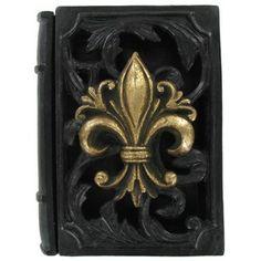 Black & Gold Fleur-De-Lis Polyresin Book Box | Shop Hobby Lobby