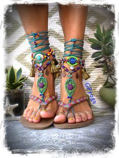 Your place to buy and sell all things handmade Purple Teal, Deep Purple, Hippie Shoes, Filigree Jewelry, Woodland Fairy, Beaded Anklets, Bare Foot Sandals, Ceramic Beads, Barefoot