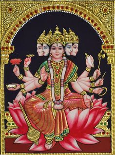 Tanjore Painting of Mahalakshmi on Lotus