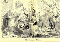 A Man of Family: Liberator Magazine Art, Jan 1919, centerfold, artist: Art Young, political cartoon the subject is the newly formed League of Nations