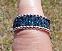 Fancy Blue Diamond Ring Sterling Silver 0.50cts Diamonds Size 7 #SolitairewithAccents