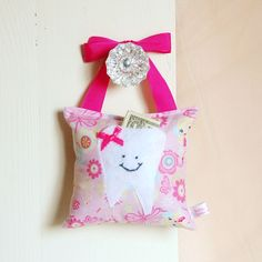 Girls Fairy Princess Tooth Fairy Pillow in Pink