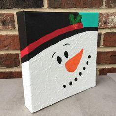 Miniature snowman canvas painting.