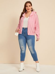 SheIn / Plus Solid Contrast Faux Fur Cardigan Plus Size Cardigans, Faux Fur, Bermuda Shorts, Contrast, Fall Winter, Long Sleeve, Casual, Fabric, Sleeves