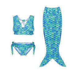 f66035e322510 Daiang Cosmic Girl 3pcs Fancy Children Swimmable Mermaid Tail Swimsuit Set  Bikini, Green And Blue, (Size 120/5-6Y)