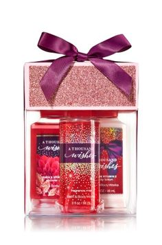 A Thousand Wishes - Petite Treats Gift Set - Bath & Body Works - Petite perfection! Our travel-sized Shower Gel, Body Lotion and Fine Fragrance Mist (3 fl oz each) will treat your special someone to clean, smooth & beautifully fragranced skin. Boxed set comes ready to gift with a glittering lid & bright bow.