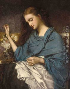 Thomas Couture - Young Woman Sewing