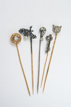 Late 19th/early 20th C.Five gold, silver, pearl and diamond Belle Epoque tie pins, Auction 1066 Decorative Arts, Lot 73