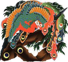 「八方睨み鳳凰図」 葛飾 北斎|Draw by Adobe Illustrator Ohara Koson, Katsushika Hokusai, Irezumi, Japanese Artists, Printmaking, Bird, Tattoo Phoenix, Halloween, Japanese Tattoos