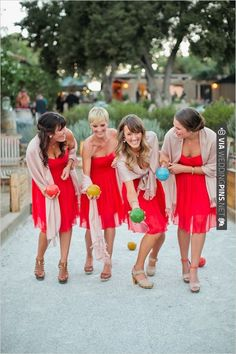 red bridesmaid dresses | CHECK OUT MORE IDEAS AT WEDDINGPINS.NET | #bridesmaids