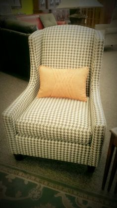 Brown and beige houndstooth pattern chair Wingback Chairs, Armchair, Patterned Chair, Tartan Fabric, Chesterfield Sofa, Houndstooth, Sofas, Accent Chairs, Community