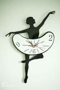 Creative Bellet Dancing Girl Acrylic Mute Wall Clock