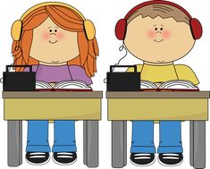Schook Kids Listening to Books clip art from Cute Graphics