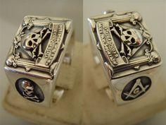 Sterling Silver 925 Skull AND PIllars Freimaurer free mason Masonic Ring Freemasonry Jewelry Hand Casted crafted freemason Pick your size. $64.99, via Etsy.