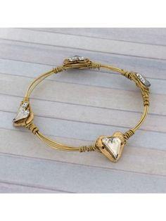 Handcrafted Two-Tone Heart Wire Bangle #wiredbangle #baubles #designerinspired #baublesandbangles #wiredbracelet