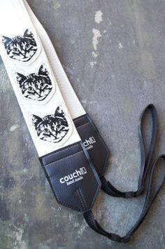 White Cat Camera Strap - Vinyl - Meow Meow Meow on Etsy, $34.95