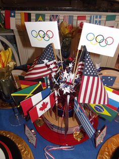 Olympic Games table flag centerpiece. So much fun to make!